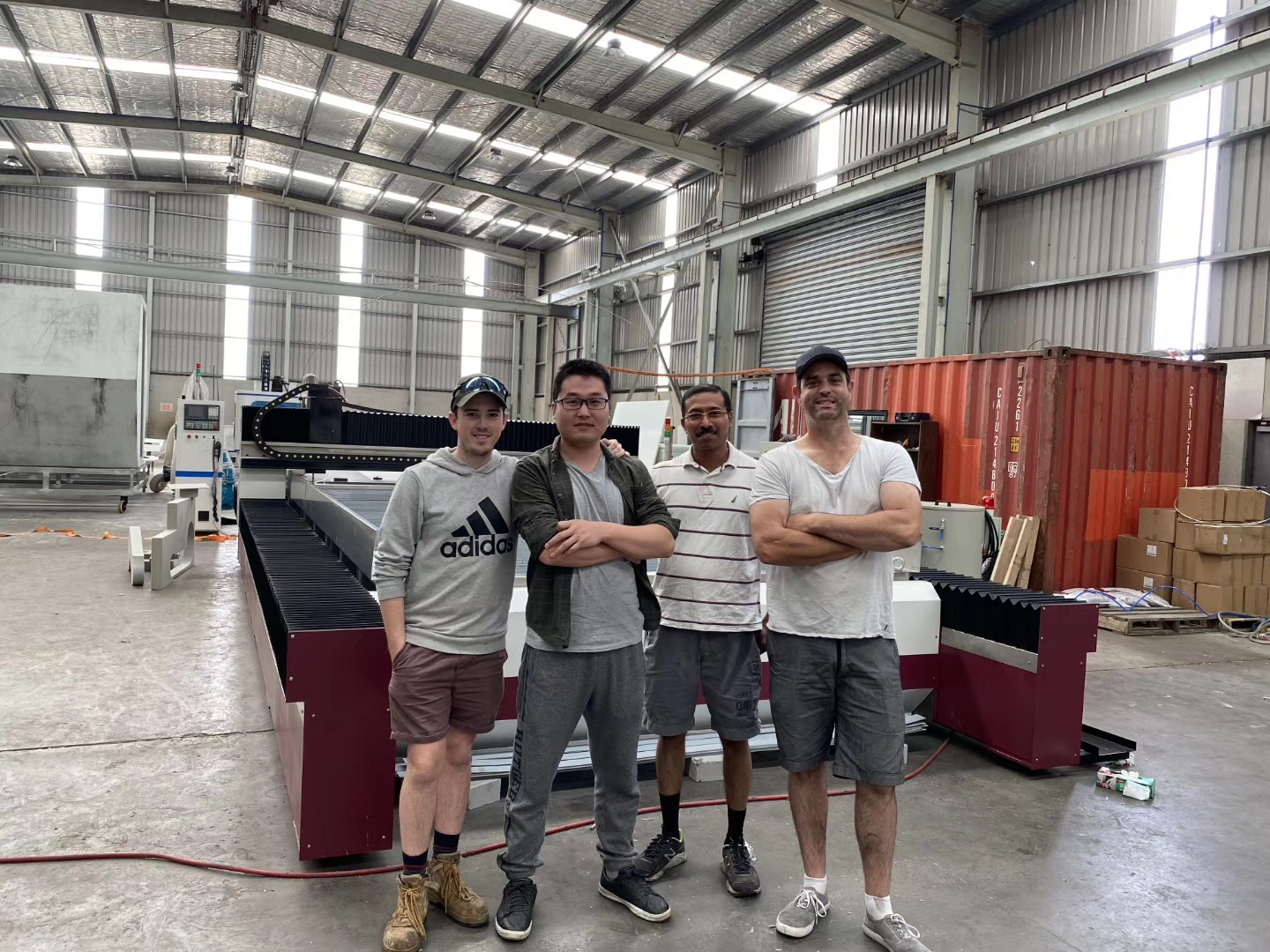 Group photo of waterjet cutting related staff